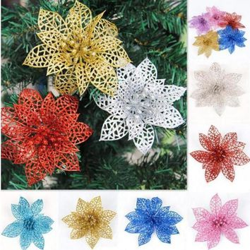 Creaditable 5Pcs/lot Glitter Beautiful Carved Christmas Hollow Flowers Party Xmas Tree Decorations Ornaments