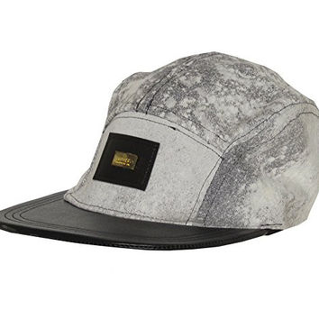 "Subvers Clothing Co. ""Rebel 84"" Acid Wash Denim & Leather Street Wear 5 Panel Camp Hat Cap"