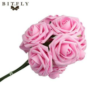 ac VLXC 10pcs Wedding Bridal Bridesmaid Bouquet Artificial Foam Rose Flowers Decorations-L1