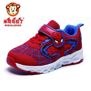 MIQI&LADING New Fashion Spider Man Kids Sneakers Cartoon Anime Boy Girl Casual Shoes Light Weight Children Running Shoes