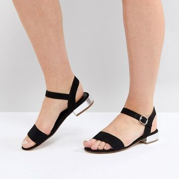 Head Over Heels by Dune Two Part Low Heel Sandal in Black at asos.com