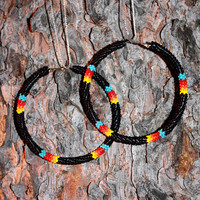 Black Native American Beaded Hoop Earrings