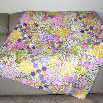 Easter Quilted Sofa Throw,  Spring Quilt, Easter Quilt, Spring Lap Quilt with Pastel Cotton Moda Eden Fabrics. Yellow, Lavender, Pink Quilt