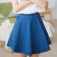 Cute High Quality Premium Blue Denim Jeans Skater Skirt