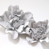 White leather flower hair pins, set of two