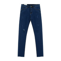 Cropped Jeans with Rip Detail