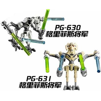 Super Heroes Star Wars General Grievous With Lightsaber W/Gun Building Blocks Bricks Action Toys for children Gift PG630 PG631