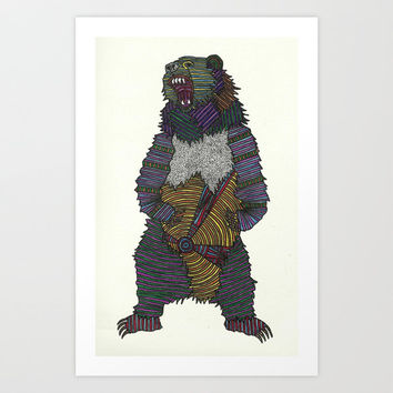 Technicolor Grizzly Bear - Marker Art Art Print by lush tart | Society6