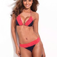 Solid Black + Red Lace Triangle Bikini Set