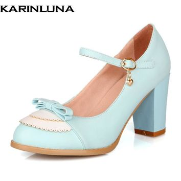 Karinluna Size 32-45 Classic Mary Jane Style Chunky High Heel Shoes Woman Sweet Bowtie