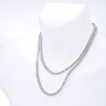 "Jewelry Kay style Men's Iced Out 4 mm Round Stone Double Set 18"" and 22"" Tennis Chain Necklace"