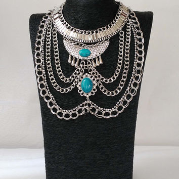 Boho Fashion: Silver Tribal Turquoise Necklace, Boho Necklace with Turquoise, Boho Jewelry
