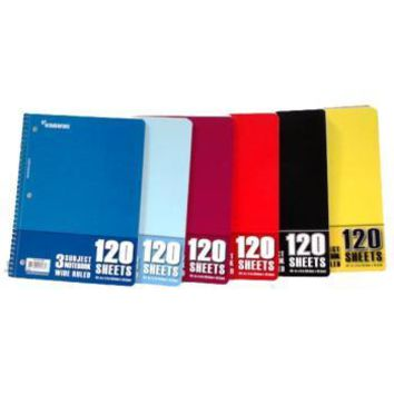 Wire Notebook - 120 sheets - 3 subject - Wide Ruled Case Pack 24