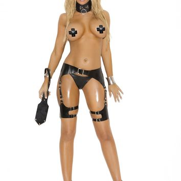 Elegant Moments EM-L9703 Leather waist to thigh harness with O rings
