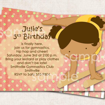 Gymnastics Birthday Party Invitation pink cream yellow Digital File you print