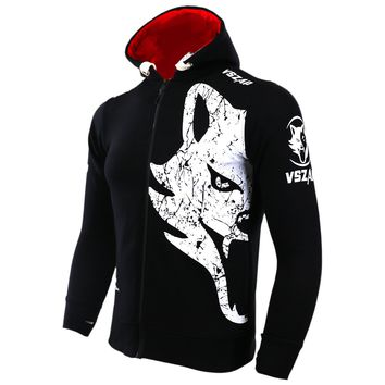 VSZAP GIANT Hoodie long sleeved coat movement MMA hoodies white Huge wolf head Keep warm Breathable Men's Sporting Sweatshirts