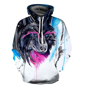 Tainted Colorful Wolf Hoodie