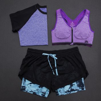 Fashion 3pcs Women's Sports Bras Yoga Fitness Racerback Vest Shorts Set 19