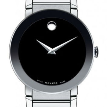 Movado Sapphire Men's Black Museum Dial 38mm Stainless Steel Watch 0606092