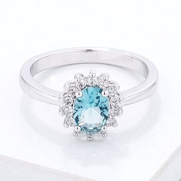 Ice Blue CZ Petite Oval Ring