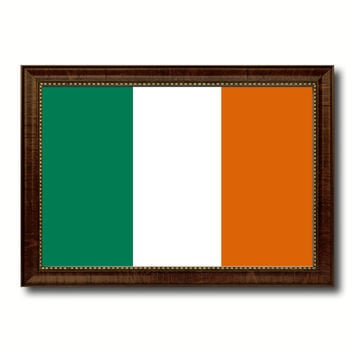 Ireland Country Flag Canvas Print with Brown Picture Frame Home Decor Gifts Wall Art Decoration Gift Ideas
