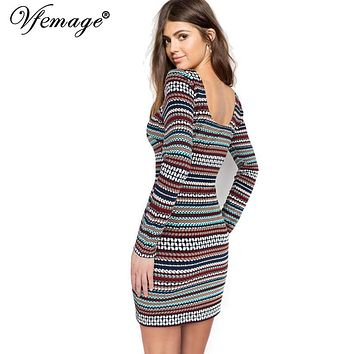 Vfemage Color Stripe Long sleeve Slim High Waist Women Ladies Fashion Cool Chic Casual Party Club Bodycon Mini Short Dress 4600