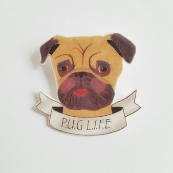 Pug Brooch - statement jewelry - shrink plastic brooch - shrink plastic jewelry