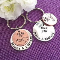 Anniversary Gift for Men - Valentines Gift - Couples Keychain Set - Money Keychain - Personalized Anniversary Gift - Wedding Gift
