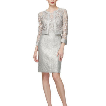 Kay Unger Metallic Tweed and Lace Sheath Dress