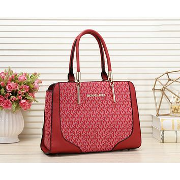 MK Michael Kors Fashion New More Letter Print Leather Shopping Leisure Shoulder Bag Women Handbag Red