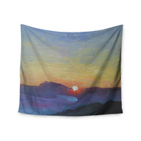 "Carol Schiff ""Mountain Sunset"" Orange Nature Wall Tapestry"