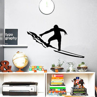 Wall Decals Surfing Big Wave Sport Boy Vinyl Sticker Decor Bedroom O103