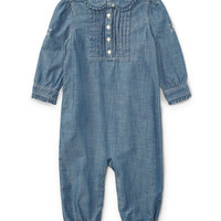 Ralph Lauren Childrenswear Chambray Ruffle-Trim Coverall, Size 9-24 Months