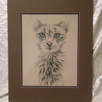 White Cat with Blue Eyes custom pet portrait, original pencil drawing dog animal pet lover drawing handmade wall art gift, white, blue