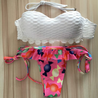 Stitching Frills Multicolor Print Lace Flower Strapless Bikini Set Swimsuit Swimwear