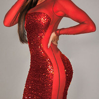 Red Sequined Long Sleeve Sheer Mesh Cut-Out Mini Bodycon Dress