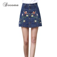 Plus Size 3XL Floral Embroidery Denim Shorts Skirts Womens 2017 Summer Blue Jeans Shorts Female Mid Waist Skirt Shorts