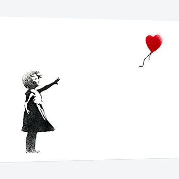 """Girl with Balloon by Banksy Canvas Print 26"""" L x 18"""" H x 0.75"""" D"""