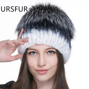 URSFUR URSFUR Rex Rabbit Fur Women's Beanie Knit Hat With Fluffy Pom Mutiple Color Female Knitted Beanies Caps Hot Fur Skullies