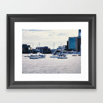 Boats in Boston Harbor Framed Art Print by lanjee