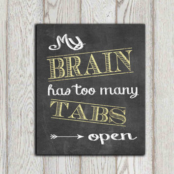Christmas gift idea Dorm printable print My brain has too many tabs open Chalkboard decor Office print Typography wall art Large DOWNLOAD