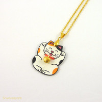 "Maneki-Neko Necklace ""Isidore"" 