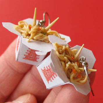 Chinese Lo Mein Take Out Earrings NICKEL FREE