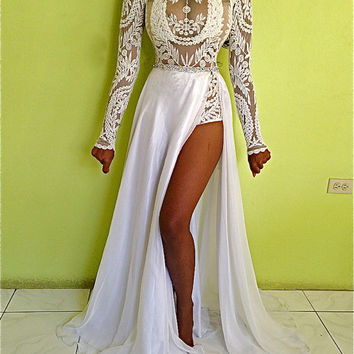 GISELLE custom white embroidery lace sheer bodysuit & crystal belt full silk chiffon skirt layered gown dress