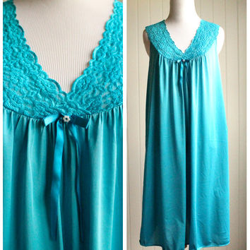 Vintage 60s Turquoise Blue Nightgown Slip By Vanity Fair// A Line Lingerie Gown Nightie