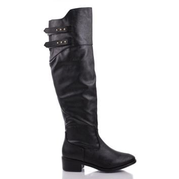 West Black Pu By Dollhouse, Almond Toe Knee High Buckle Zip Up Low Heel Riding Boots