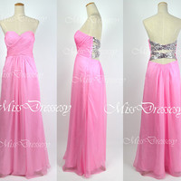 A Line Strapless Sweetheart with Sequined and Crystal Pink Chiffon Long Prom Dress Wedding Party Dress, Evening Dress, Formal Gown