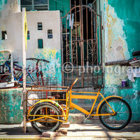 Yellow Bike Fine Art Travel Photography Retro Vintage Yellow Green Teal Old Bikes Mexico Isla Mujeres Cancun Photo Rustic Hipster Southern