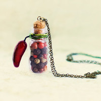 Christmas Jewelry - Christmas Accessories - Botanical Necklace - Rustic Necklace - Natural Peppers inside the tiny Glass Bottle