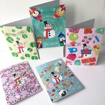 Christmas card pack - Pack of 10 funny cards for friends, family and work colleagues. Two of each design. 'The five senses of Christmas'